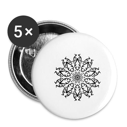 fleur - Lot de 5 petits badges (25 mm)