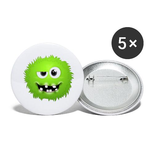 Grünes rundes Monster 13 - Buttons klein 25 mm (5er Pack)