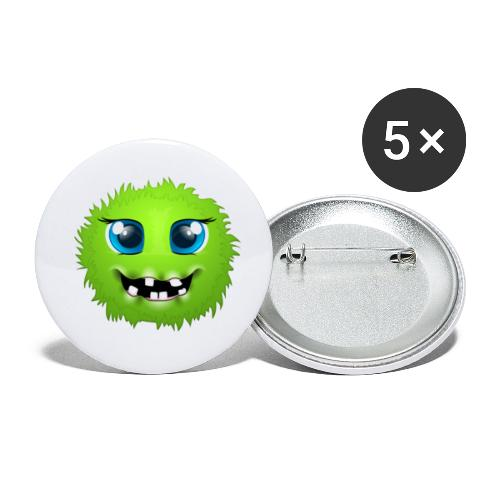 Grünes rundes Monster 18 - Buttons klein 25 mm (5er Pack)