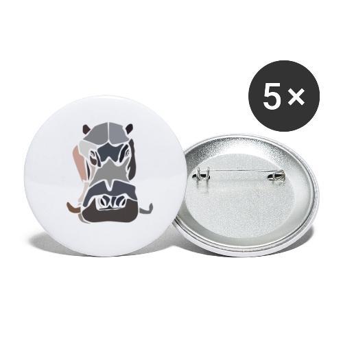 Hippopotame by joaquin - Lot de 5 petits badges (25 mm)