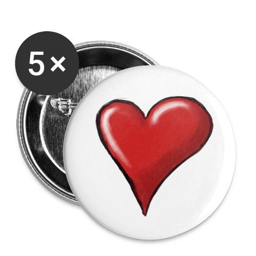 Love (coeur) - Lot de 5 petits badges (25 mm)