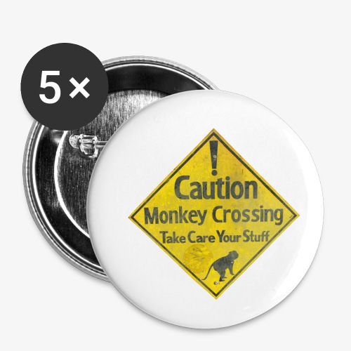 Caution Monkey Crossing - Buttons klein 25 mm (5er Pack)