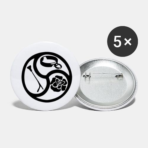 Triskele triskelion BDSM Emblem HiRes 1 color - Buttons klein 25 mm (5er Pack)