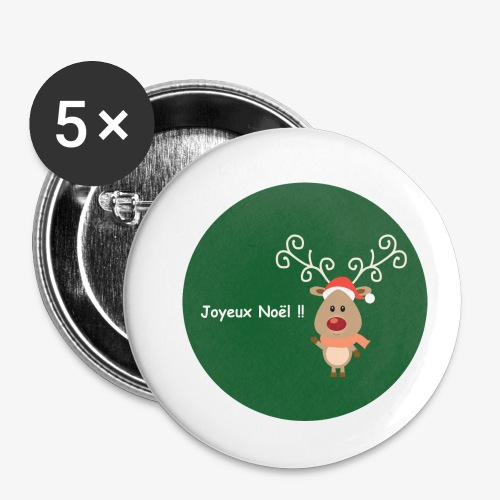 deer on green christmas bauble background - Buttons small 1''/25 mm (5-pack)