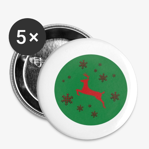 red deer on a green background star tartan - Buttons small 1''/25 mm (5-pack)