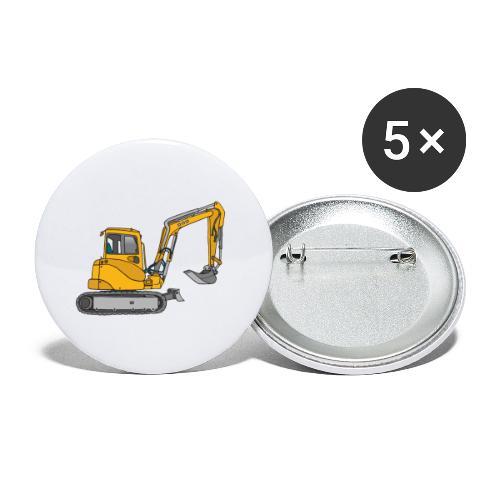 BAGGER, gelbe Baumaschine mit Schaufel und Ketten - Buttons klein 25 mm (5er Pack)