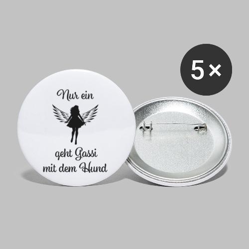 NUR EIN ENGEL GEHT GASSI MIT DEM HUND - BLACK - Buttons klein 25 mm (5er Pack)