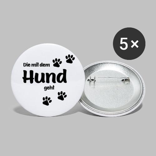 DIE MIT DEM HUND GEHT - Buttons klein 25 mm (5er Pack)