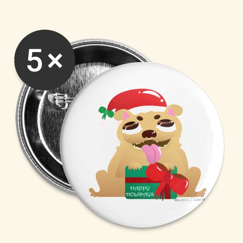 Pug-liday! - Buttons small 1''/25 mm (5-pack)