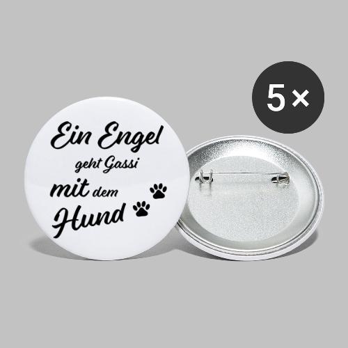 Ein Engel geht Gassi mit dem Hund - V2 - White - Buttons klein 25 mm (5er Pack)