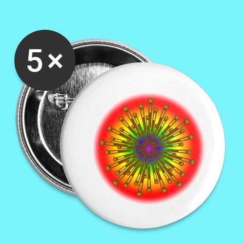 Rainbow explosion behind Fibonacci - Buttons small 1''/25 mm (5-pack)