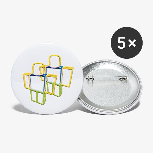 Sqaure Noob Person - Buttons small 1''/25 mm (5-pack)