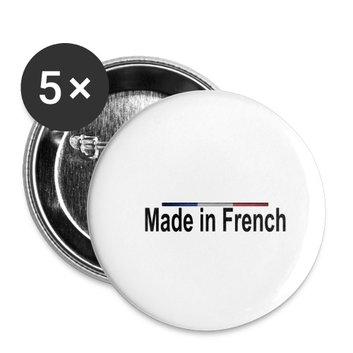 made in french black - Lot de 5 petits badges (25 mm)
