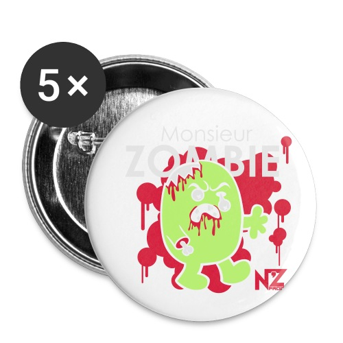 mr zombie - Lot de 5 petits badges (25 mm)