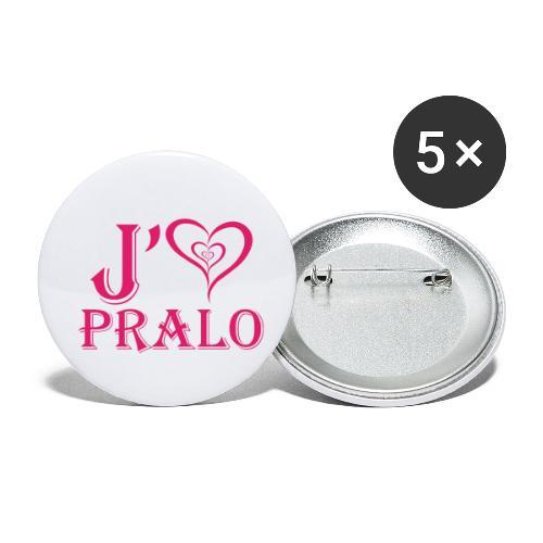 j aime pralo rouge 2 - Lot de 5 petits badges (25 mm)