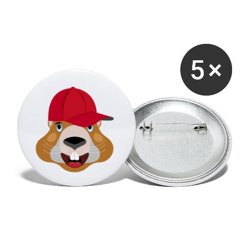 tète marmotte casquette été - Lot de 5 petits badges (25 mm)