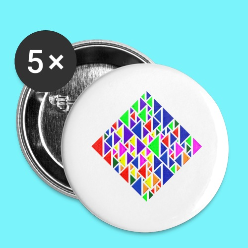 A square school of triangular coloured fish - Buttons small 1''/25 mm (5-pack)