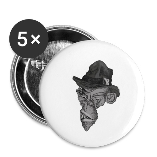 Monkey in the hat - Buttons small 1''/25 mm (5-pack)
