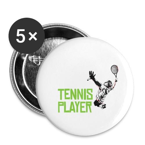 Tennis Spieler - Buttons klein 25 mm (5er Pack)