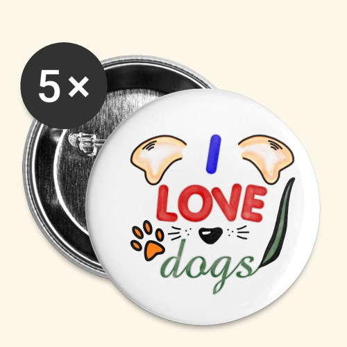 I love dogs - Buttons klein 25 mm (5er Pack)