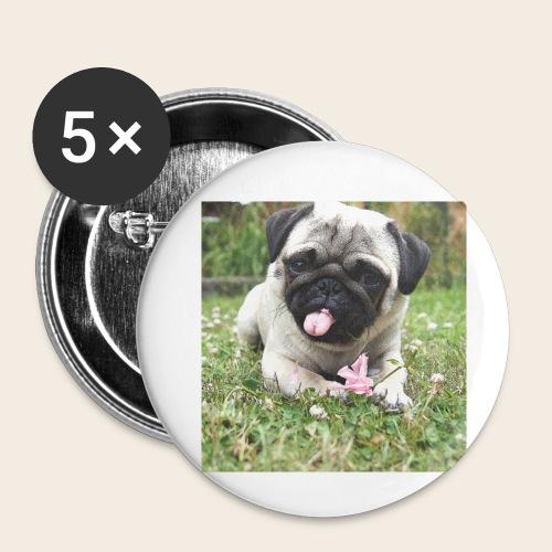 Mops Wiese - Buttons klein 25 mm (5er Pack)