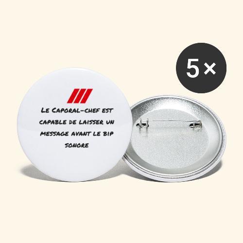 caporal chef - Lot de 5 petits badges (25 mm)