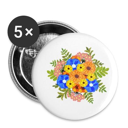 Blue Flower Arragement - Buttons small 1''/25 mm (5-pack)