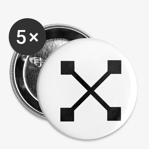X BLK - Buttons klein 25 mm (5er Pack)