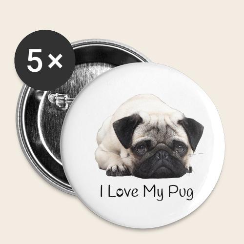 love my pug - Buttons klein 25 mm (5er Pack)