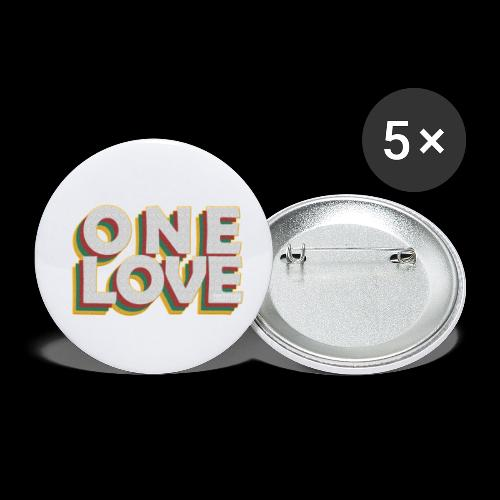 ONE LOVE - Buttons klein 25 mm (5er Pack)