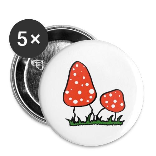 Fliegenpilz - Buttons klein 25 mm (5er Pack)