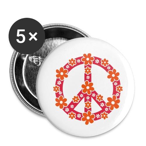 Peace Frieden Symbol Hippie Sommer Freiheit Liebe - Buttons klein 25 mm (5er Pack)