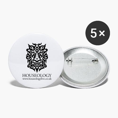 Houseology Official - black - Buttons small 1''/25 mm (5-pack)