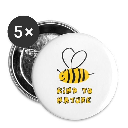 Bee kind to nature Bienen retten - Buttons klein 25 mm (5er Pack)