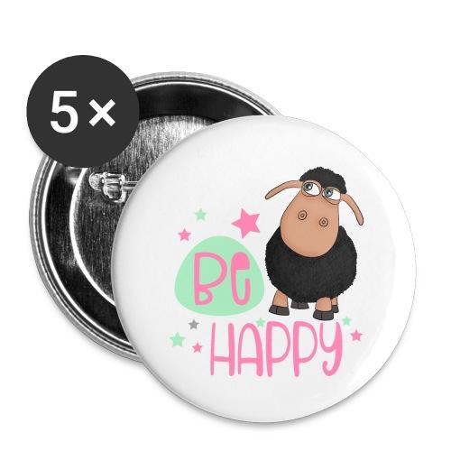 Schwarzes Schaf - be happy Schaf Glückliches Schaf - Buttons klein 25 mm (5er Pack)