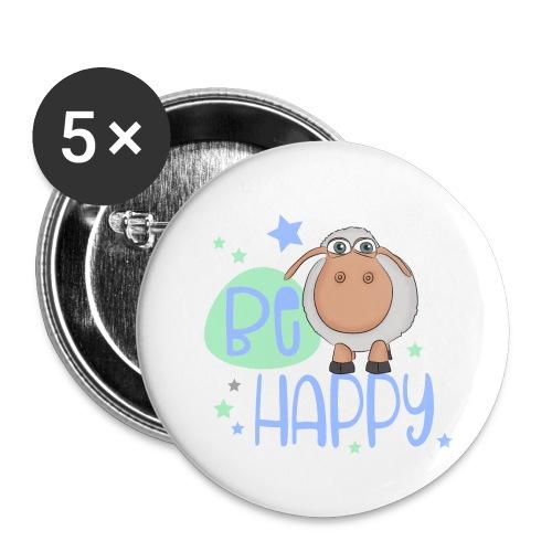 Be happy Schaf - Glückliches Schaf - Glücksschaf - Buttons klein 25 mm (5er Pack)