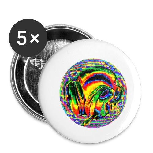 Casque à facettes - Lot de 5 petits badges (25 mm)