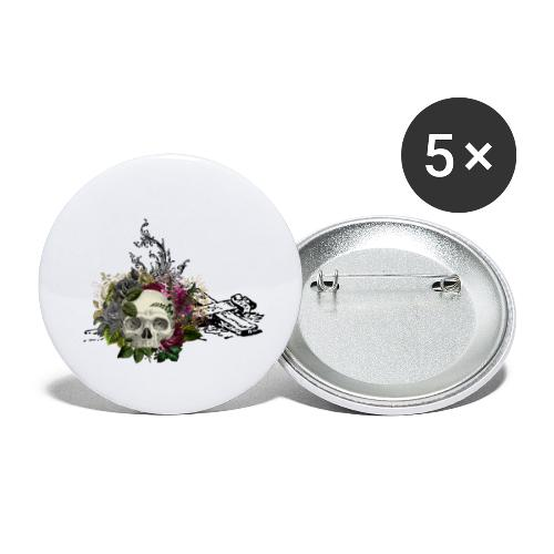 Floral Skull with Cross - Buttons klein 25 mm (5er Pack)