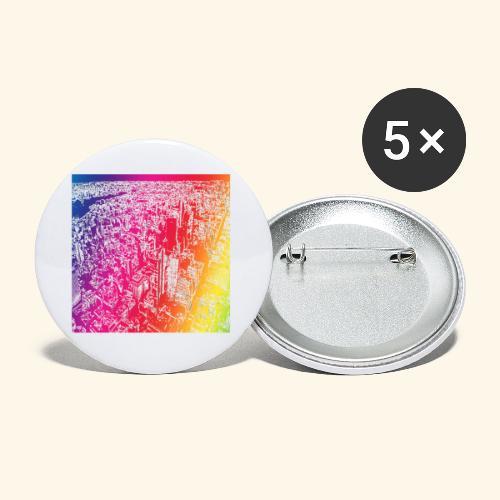 Manhattan arcobaleno - Confezione da 5 spille piccole (25 mm)