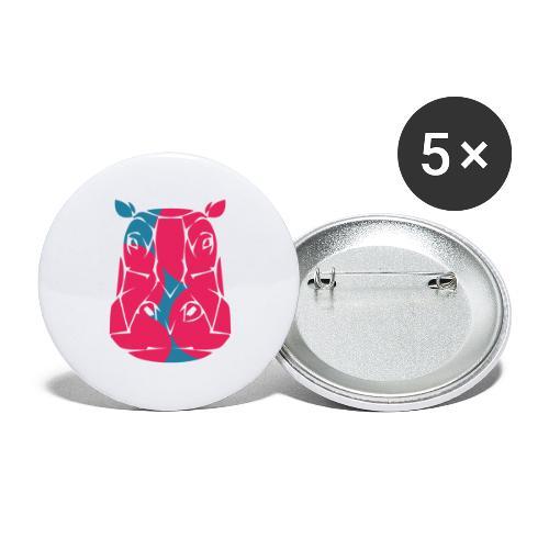 Hippo in het roze en blauw - Buttons klein 25 mm (5-pack)