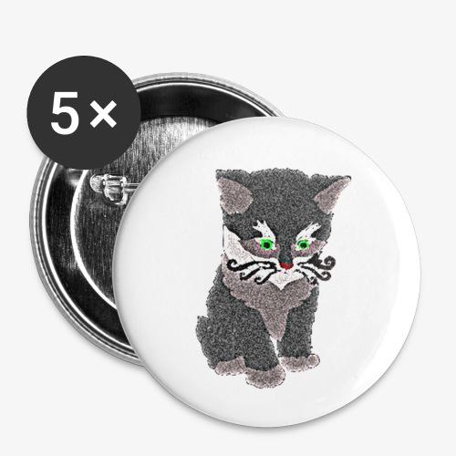 Kotek szary - Przypinka mała 25 mm (pakiet 5 szt.)