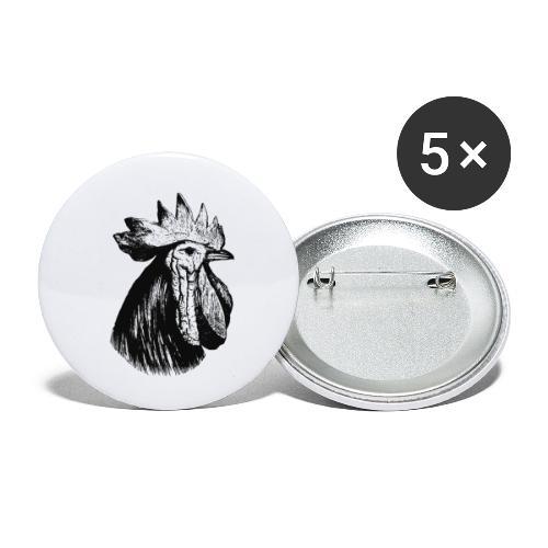 Hahn Kopf - Buttons klein 25 mm (5er Pack)