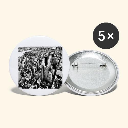 Manhattan in bianco e nero - Confezione da 5 spille piccole (25 mm)