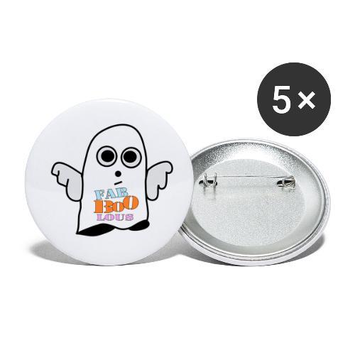 Halloween Geist BOO - Buttons klein 25 mm (5er Pack)