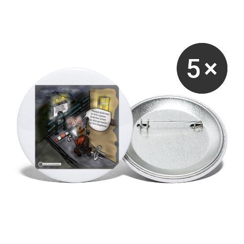 Cartoon SmartZone Ende der Ausbaustrecke - Buttons klein 25 mm (5er Pack)