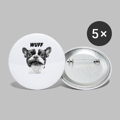 Wuff - Hundeblick - Hundemotiv Hundekopf - Buttons klein 25 mm (5er Pack)