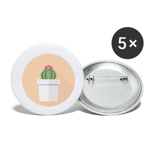 Flat Cactus Flower Potted Plant Motif - Buttons small 1''/25 mm (5-pack)
