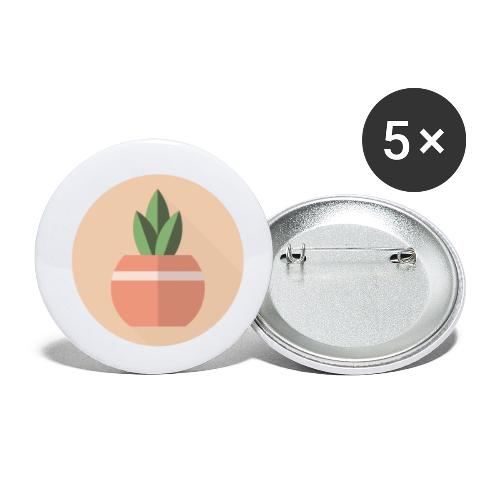 Flat 3 Leaf Potted Plant Motif Round - Buttons small 1''/25 mm (5-pack)
