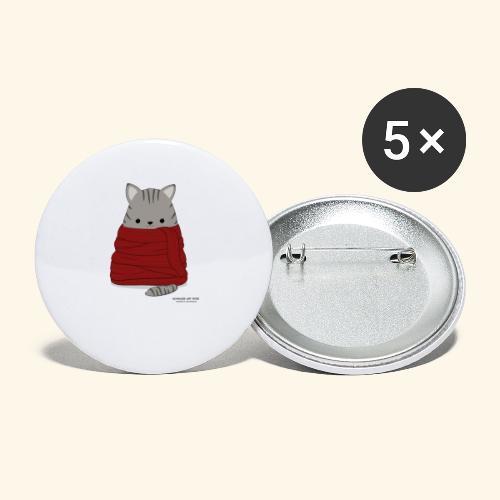 Katze im Winter mit Schal - Buttons klein 25 mm (5er Pack)