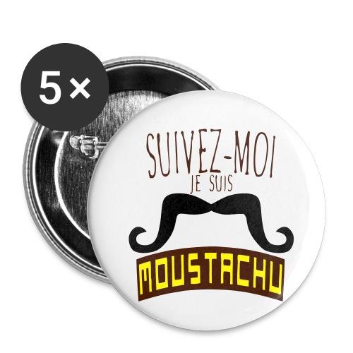 citation moustache suivez moi moustachu - Lot de 5 petits badges (25 mm)
